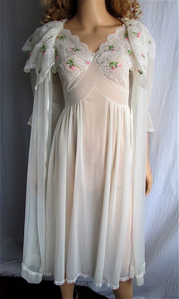 Vintage Peignoir Nightgown Set XS/SM Bridal Lingerie Honeymoon Lingerie Vintage Nightgown Boho Chiffon Nylon Embroidered on Etsy, $149.00 - underwear and lingerie, mature lingerie, what stores sell lingerie