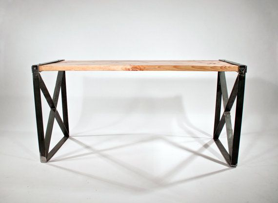 Reclaimed wood modern / industrial desk by RockyMountainTableCo.