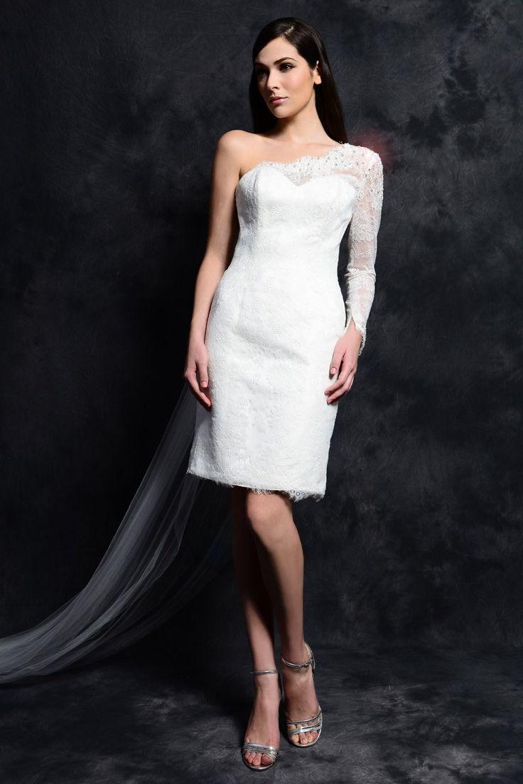 Hals met lange mouwen pure kanten jurk / riem van hoge kwaliteit en lage prijs. Eden Bridals Beach jas schouder kralen chiffon knielange kant korte mouwen trouwjurk bescheiden trouwjurken 2015