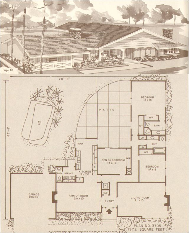 Mid century modern rustic ranch style house design no for Mid century modern home floor plans