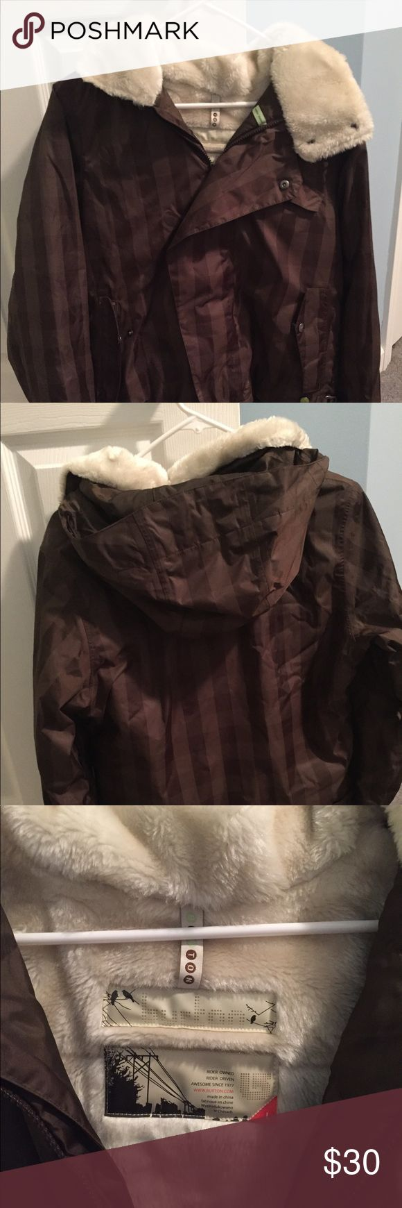 Women's Burton ski jacket Women's Burton ski jacket size large. Brown square pattern. Has a hood. Used but, in great condition and fur is good still :) smoke and pet free home Jackets & Coats Puffers