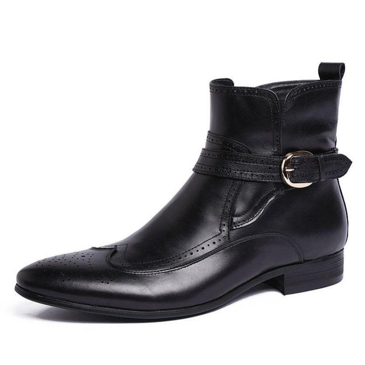 Nova masculina de couro real Botas de tornozelo Pulseira Fivela sapatos Formal Preto Marrom