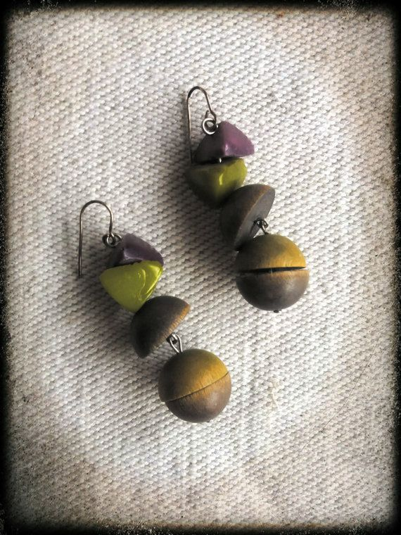 Vintage finnish wooden lime and purple dangle by PawhillTreasures