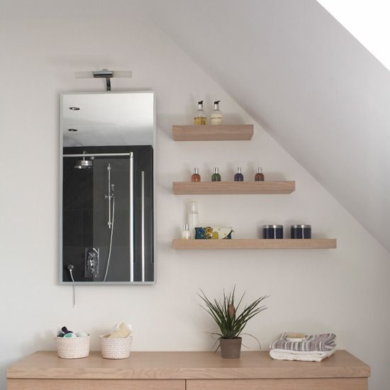 Simply Floating Bathroom Shelves for Attic Bathroom Storage - Home Decorating Ideas – Interior Design Ideas on hometodecor.com