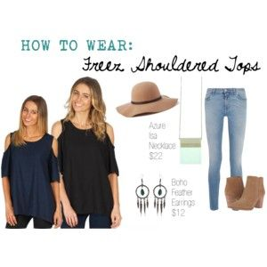 Styling our Freez Shoulder Tops, available in two colours!  #freez #polyvore #fashion #womensfashion #ontrend #style