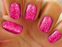 Pink glittery nails. I did this, but the nail polish would come off whole, even with a top coat. Thinking I need to put some kind of primer on first.