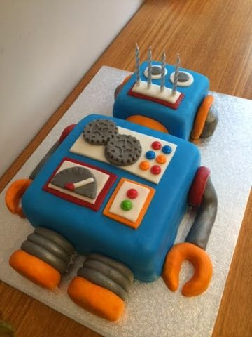 Skinny Cakes and Other Bakes: Robot Birthday Cake                                                                                                                                                                                 More