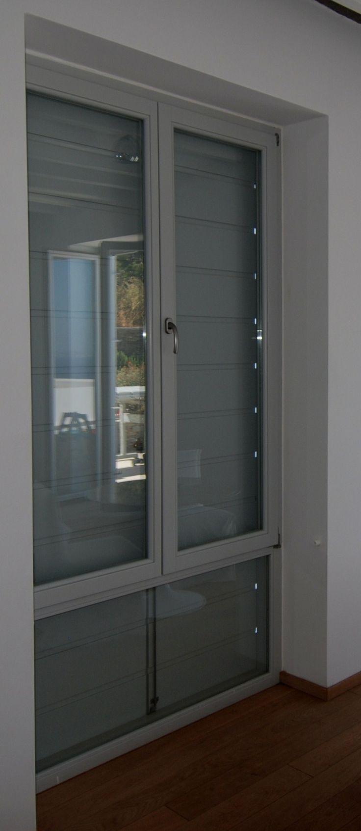 Παράθυρο ΠΡ15 με σταθερό - Πατζούρι ΠΑ9 ραμποτέ οριζόντιο 30mm, ανοιγόμενο