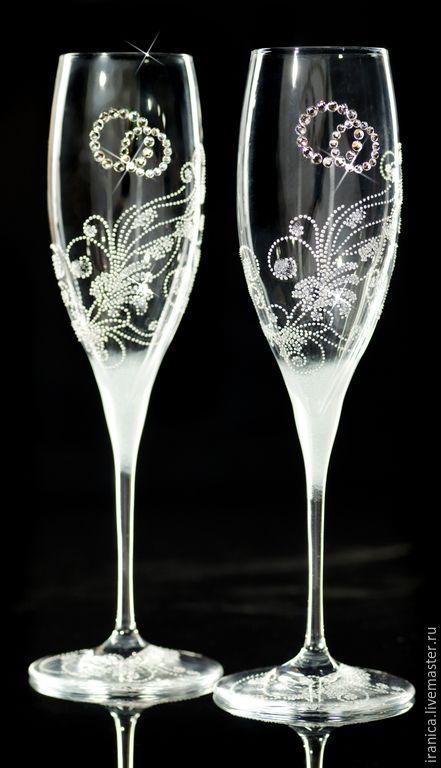 """Купить """"Nozze"""" - серебряный, фужеры на свадьбу, бокалы для молодоженов, подарок на любой случай, подарок на свадьбу"""