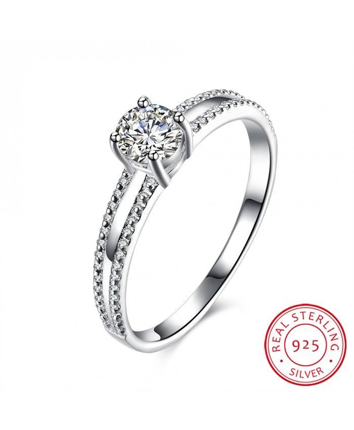 Ouruora 925 Silver Wedding Ring With White Zircon