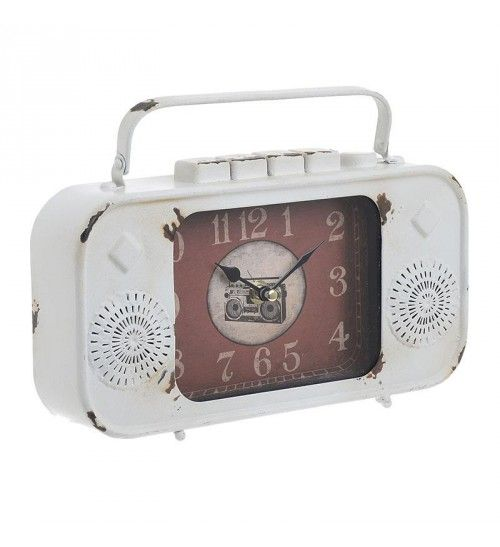 METAL 'RADIO' TABLE CLOCK IN ANTIQUE WHITE COLOR 27_5Χ5_5Χ18