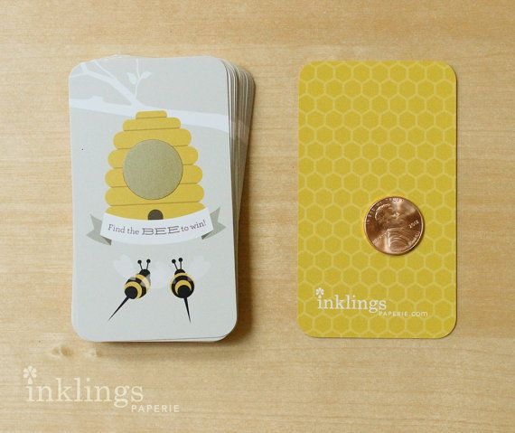 24 Scratch Off Cards for Baby Shower or Birthday Game // Honey Bee on Etsy, $12.70 CAD  (Baby Shower Related)