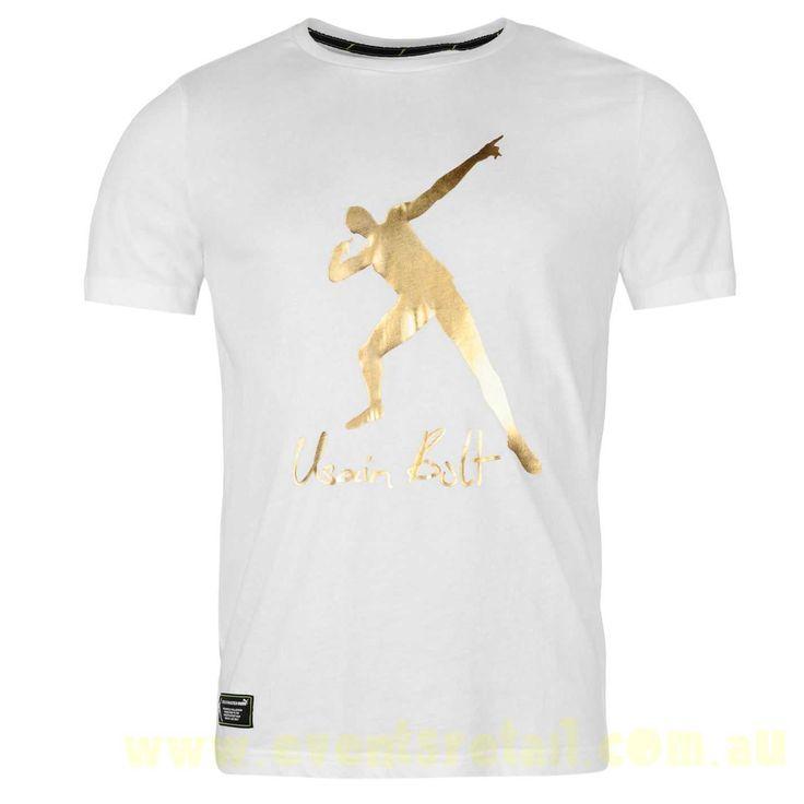Men\'s Puma Usain Bolt Logo T Shirt Mens White Australia