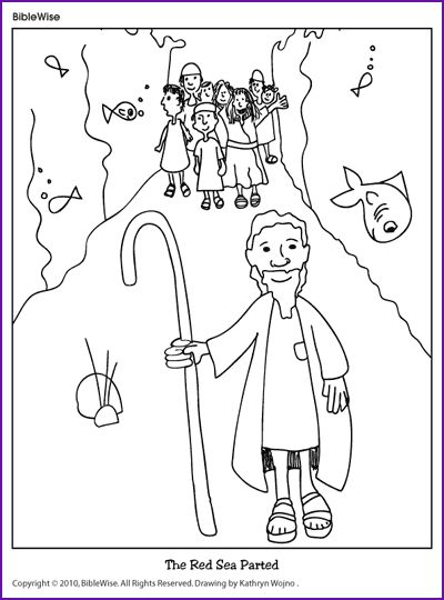 A cute coloring page of the israelites walking through the red sea