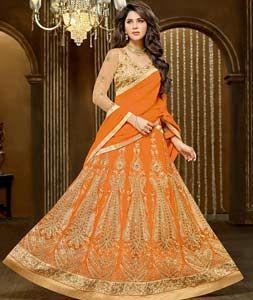 Buy Orange Banglori Silk Wedding Lehenga Choli 72644 online at best price from vast collection of Lehenga Choli and Chaniya Choli at Indianclothstore.com.