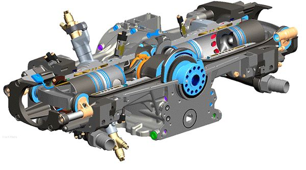Opposed Piston Engine:  Apparently it can have better thermodynamic properties which leads to better fuel efficiency. There are a bunch of different tradeoffs with maintenance and engine size too, but it really depends on the specific applications