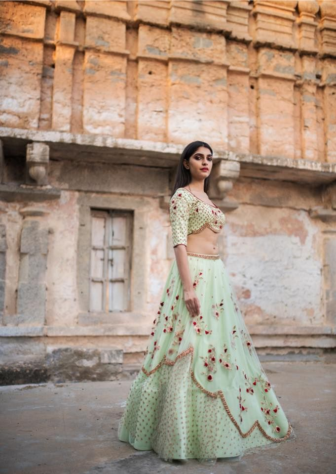 Slay those yesteryear blues with a breath of fresh mint green. Stunning fresh mint color lehenga and blouse with floral design hand embroidery thread work.  01 January 2018