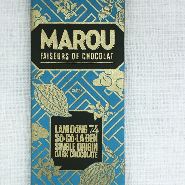 <Marou   LAM DONG> • Type: Dark Chocolate • Cocoa %: 74% • Taste: Bittersweet • Aroma: Spicy • Chocomood: TGIF