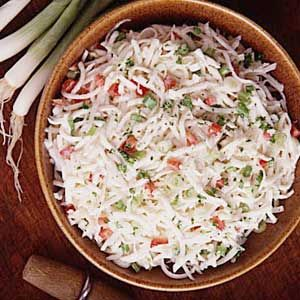 Challenge ingredient: turnips | Solution: + red peppers, green onions, and dressing = turnip slaw.
