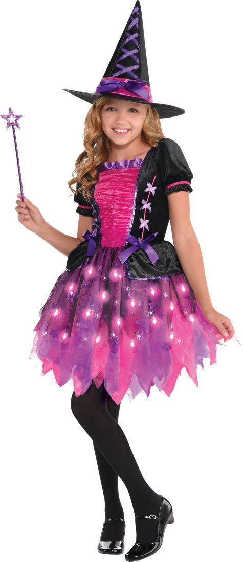 Girls Light-Up Sparkle Witch Costume - Party City