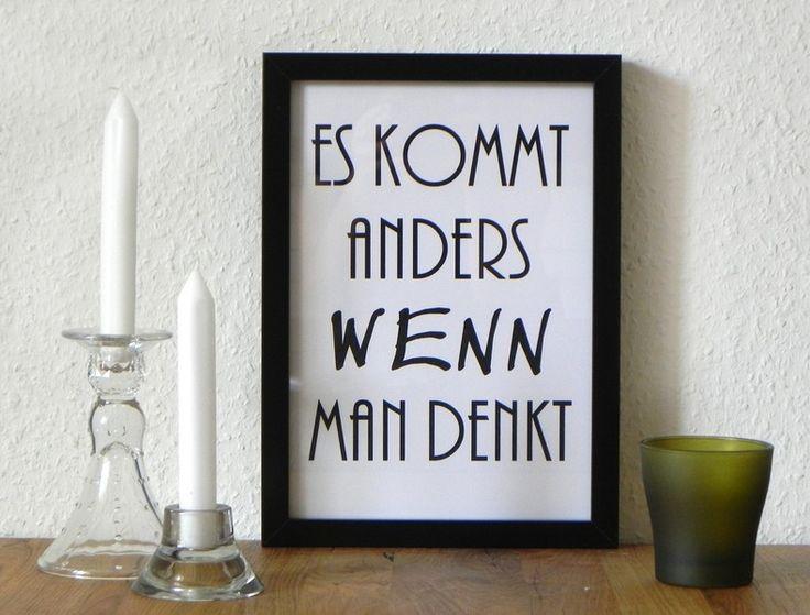 """Druck """"Es kommt anders wenn man denkt"""" // Print by originalWERK via DaWanda.com"""