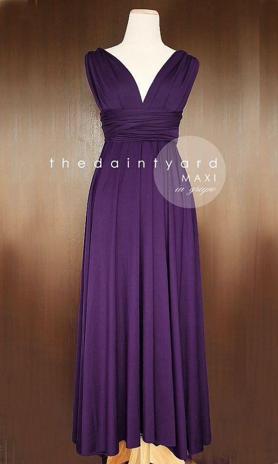 MAXI Grape Bridesmaid Convertible Long Dress--Infinity Multiway Wrap Dress Royal Dark Deep Purple Full Length--COMES IN A SHORTER VERSION!