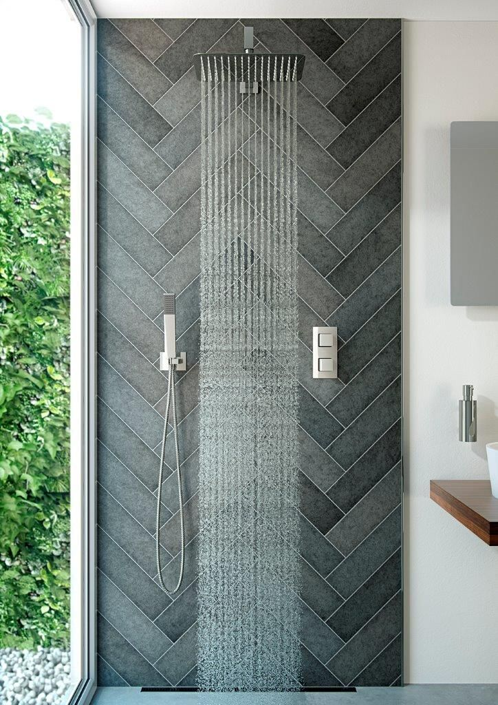 http://walkinshowers.org/best-shower-systems-buying-guide.html ~ Grey herringbone tile detail works brilliantly in this room, especially when teamed with simple painted white walls. Love it - light and bright, perfect use of grey too! More