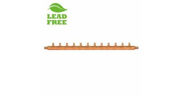 Can be used with both hot and cold drinking water lines or with hydronic (radiant) heating. 12-Branch Siuox Chief copper manifold suitable for hot/cold drinking water as well as radiant heat applications. This copper manifold is compliable with following standards ASTM Standard F1807, ASTM F2159, AS