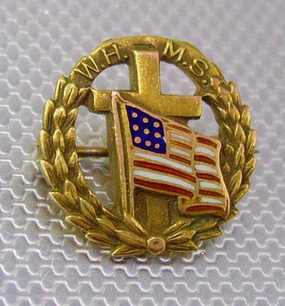 Vintage WHMS Cross American Flag Lapel Pin by NeatstuffAntiques, $55.00