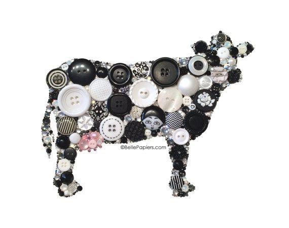 Button Art Kitchen Cow Black White Holstein Cattle by BellePapiers