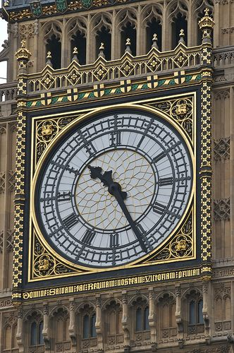 The Clock face on the Tower at the Palace of Westminster in London, England