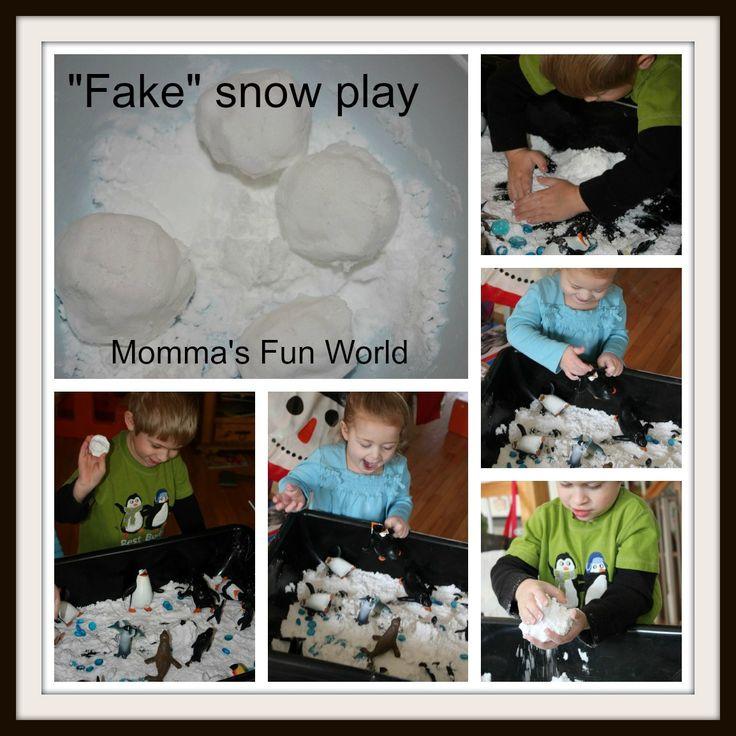 "Momma's Fun World: Make your own ""Fake"" sensory snow"