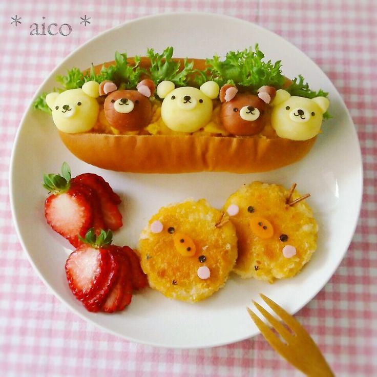 日本人のごはん/パン Japanese meals/Bread. リラックマサンドウィッチ。Rilakkuma sandwich plate #food…
