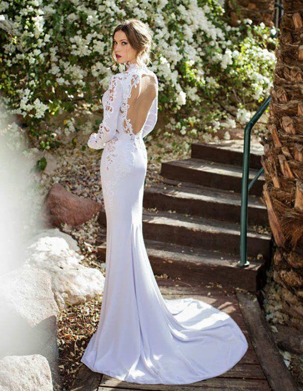 encolure en v longue dentelle sleeves forme fourreau jersey robe de mariée