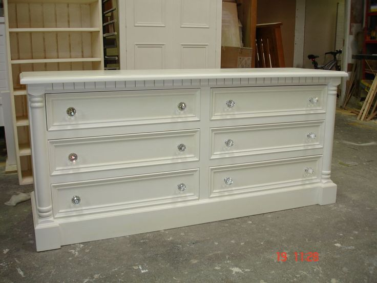 French White Painted 6 drawer Solid Wood Pine Jali Style Chest Crystal  handles