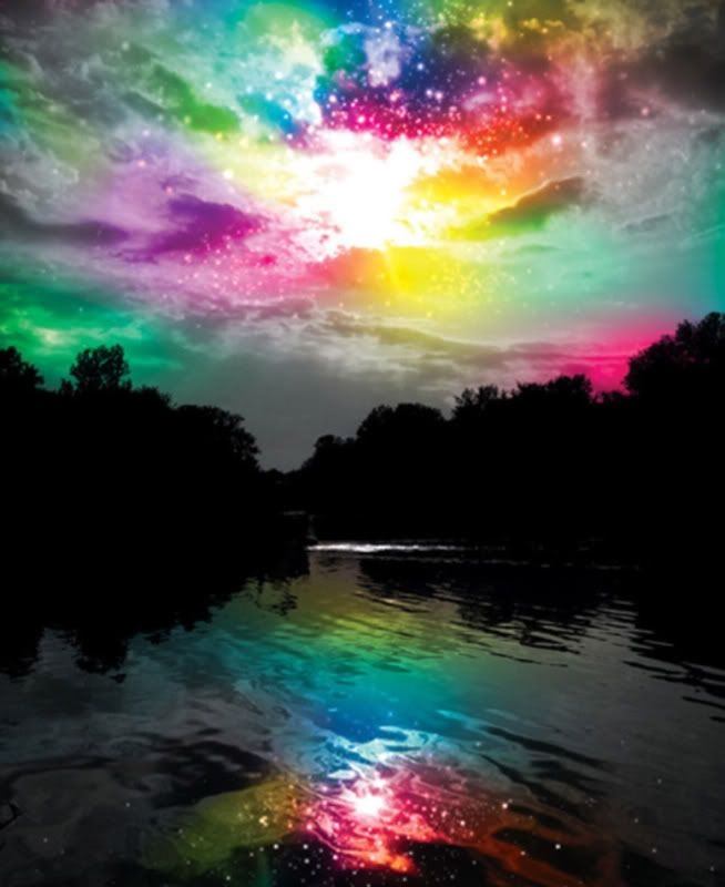 reflections of a rainbow.