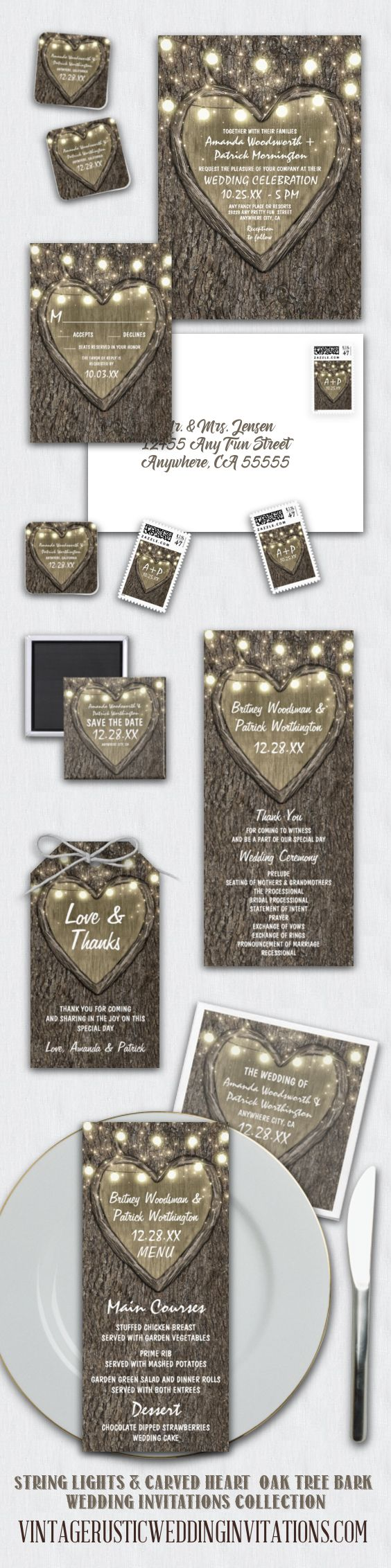 Rustic carved heart oak tree wedding invitations with matching RSVP cards, save the dates, menus, thank you tags, napkins, stamps, favors and more.