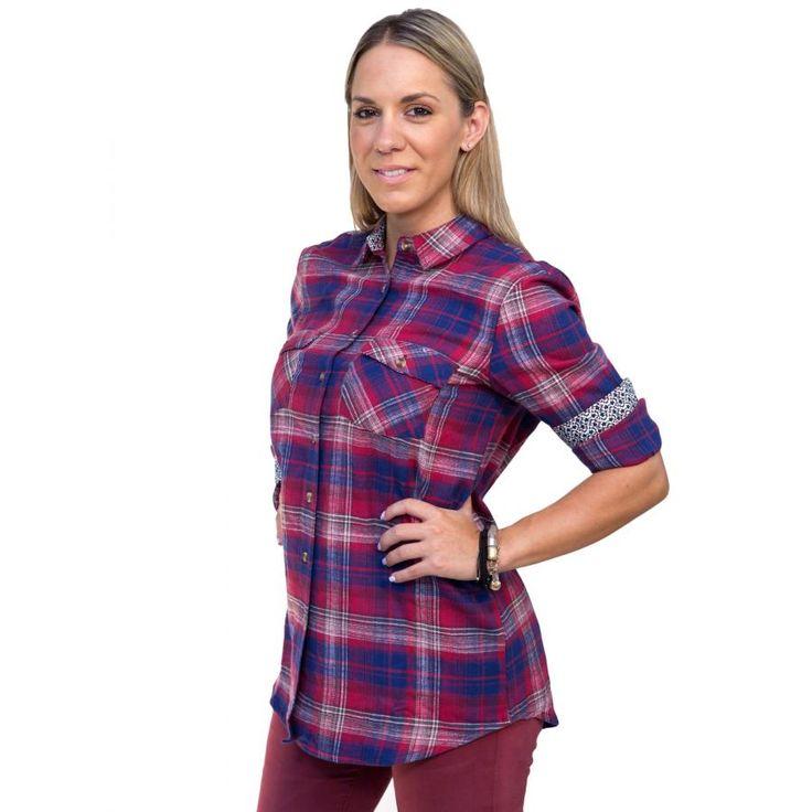 ATTRATTIVO Γυναικείο καρό πετσετέ πουκάμισο