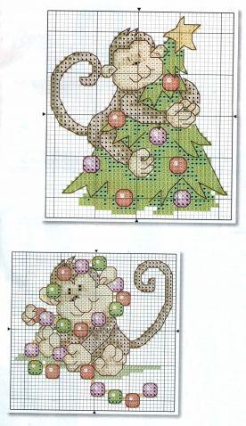 Веселые мартышки / Вышивка / Схемы вышивки крестом