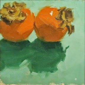 """Daily Paintworks - """"PERSIMMON KISS"""" - Original Fine Art for Sale - © Helen Cooper"""