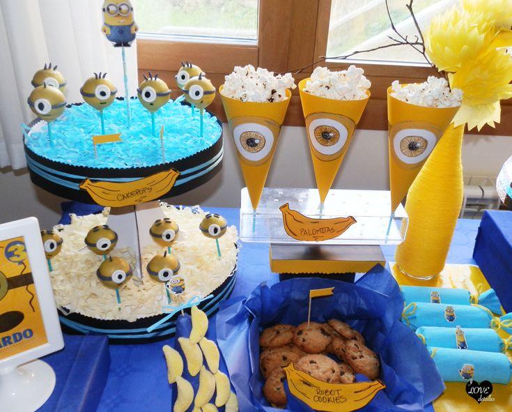 Minion Party, fiesta minions, Candy Bar despicable me, candy bar minions, sweet table despicable me, sweet table minions, cakepops minion