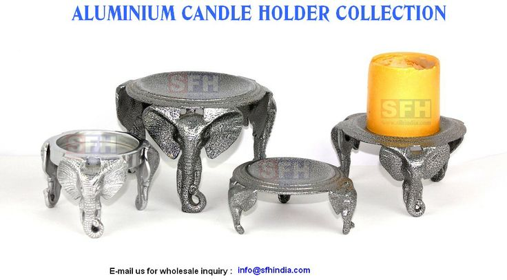 Unique and exclusive aluminium elephant candle holders.we are always excited to design and develop new products.Our products are inspired by animals,flowers and the beautiful things we see on the beautiful Earth ! Our aluminium candle holder collection are available in various finishes like pewter finish,nickel finish,shiny polish,brass plating & gold plating,powder coated,enamel colours .  http://www.sfhindia.com