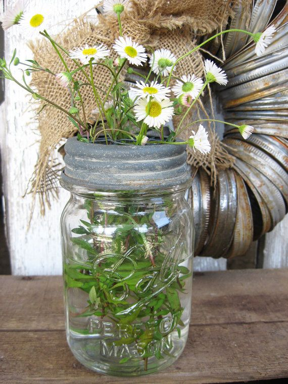 Canning Jar Flower Frog Lid - Chicken Wire Center - Fits Any standard Opening Ball - Kerr - Mason jars