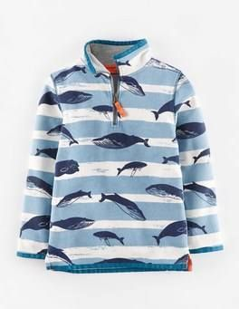 Washed Half-zip (Whale/Turquoise Salty Stripe)