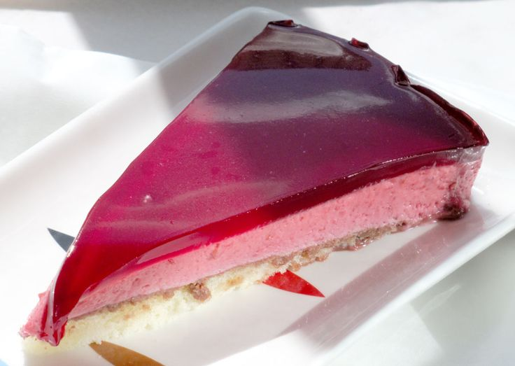 Raspberry mousse on a sponge cake base - or strawberry mousse
