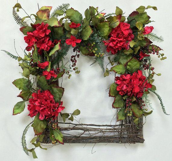 Spring Wreath, Hydrangea Wreath, Square Wreath, Wispy Wreath, Summer Wreath…