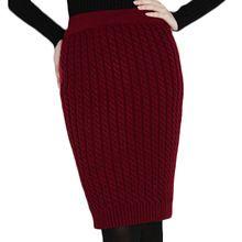 Invierno de Lana de la vendimia de Punto Faldas Lápiz Faldas de Las Mujeres Calientes Rectos Negros de Cintura Alta Midi Saia Jupe MF685741(China (Mainland))