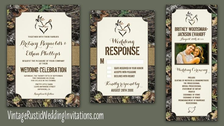 Find camo wedding invitations in collections with matching RSVP cards, wedding programs and more. 40 percent off on combined invitation & RSVP orders.