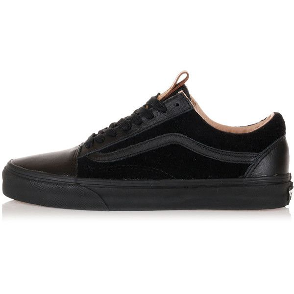 Vans Leather and Fabric OLD SKOOL REISSUE CA Sneakers (170 BRL) ❤ liked on Polyvore featuring shoes, sneakers, black, kohl shoes, round cap, black sneakers, vans footwear and black leather sneakers