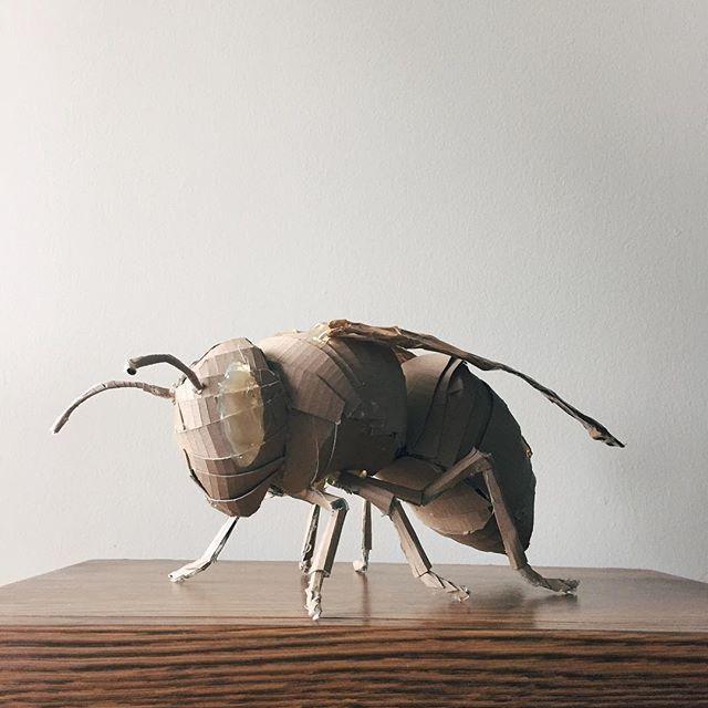 Larger than life – a Japanese Giant Hornet sculpture by @kassie.art.